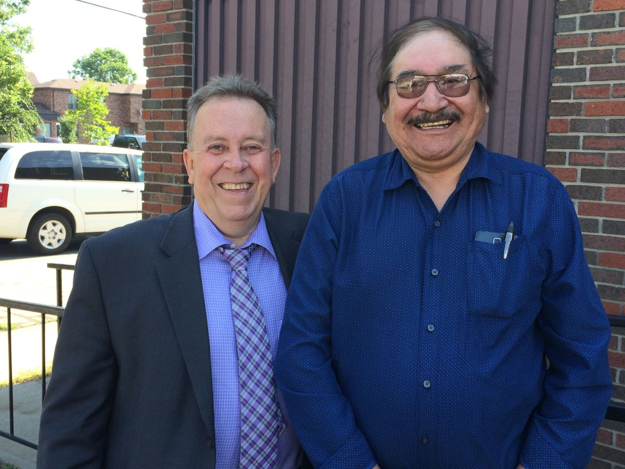 Minister Gravelle and chief Joseph Crowe of fort severn First Nation