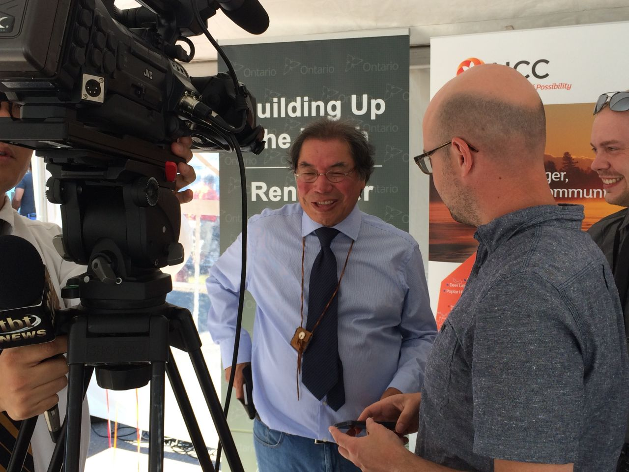 NCC CEO Geordi Kakepetum talks to the media about the Ontario governments massive investment in fort severn's solar micro grid project